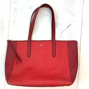 Fossil Two-Tone Red Leather Shoulder Tote Bag